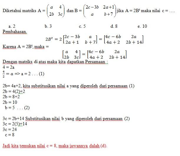 4 Soal Matematika Transpos Matriks Pembahasan Dan Latihan Soal