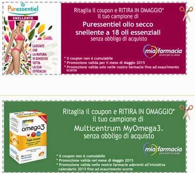 coupon Multicentrum myomega3 e Puressentiel olio snellente