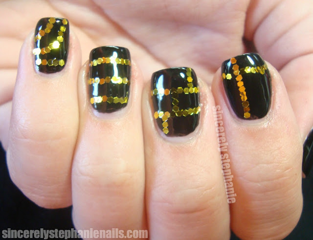 nailtini espresso born pretty gold glitter