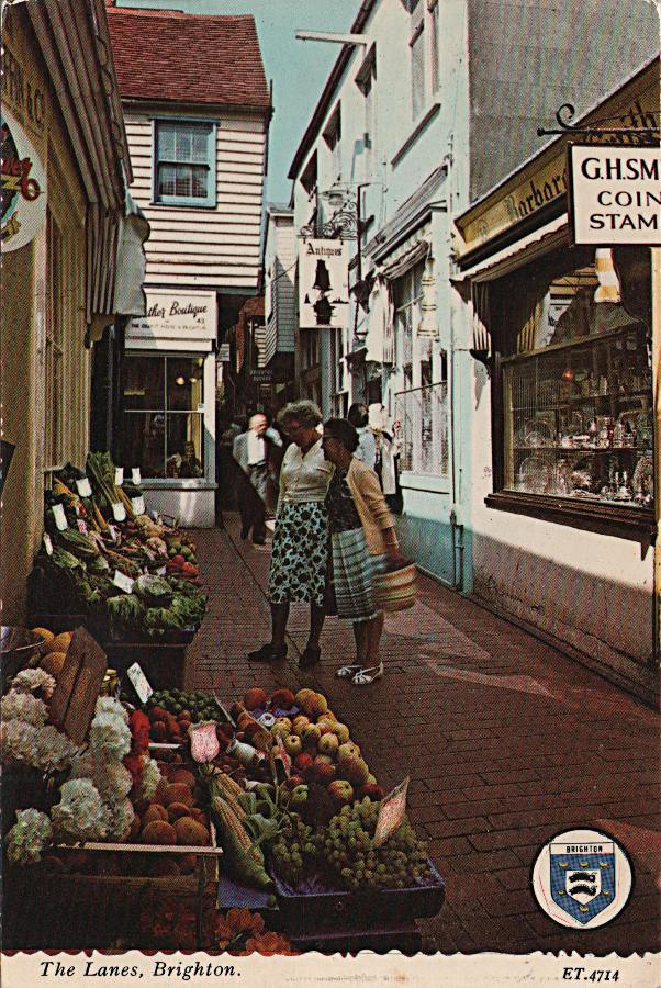 The Lanes, Brighton, with greengrocer shop