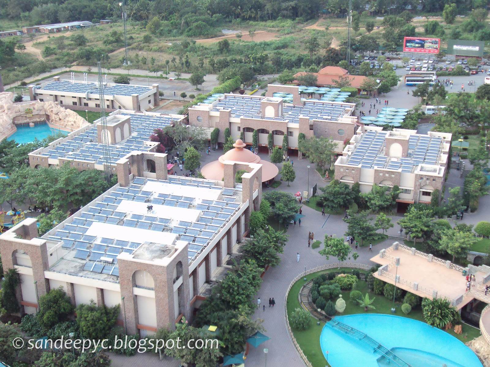 The solar panels on top of the buildings at WonderLa