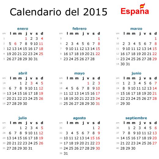 Calendario básico 2015 de España - Vector