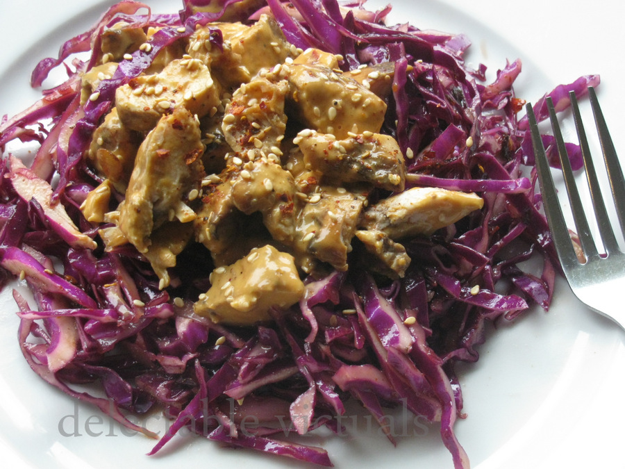 red cabbage salad peanut chicken