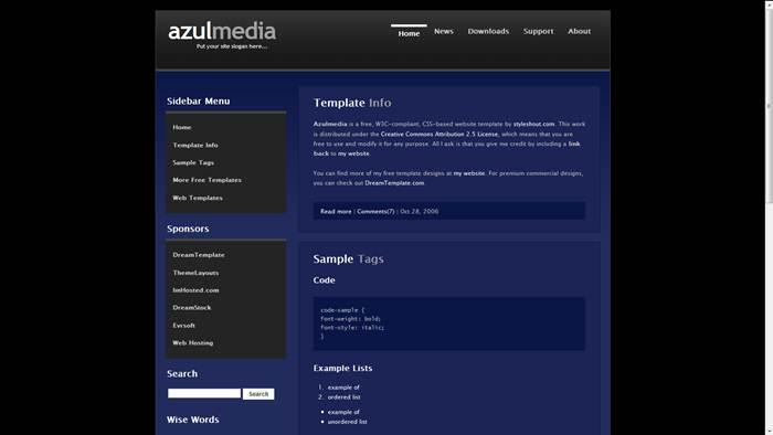 Azulmedia-2.1 CSS Template
