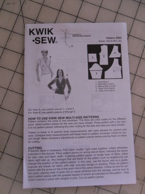 Kwik Sew 2694 Was The Closest