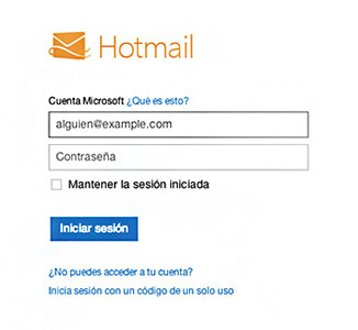Formulario de Ingreso a Hotmail
