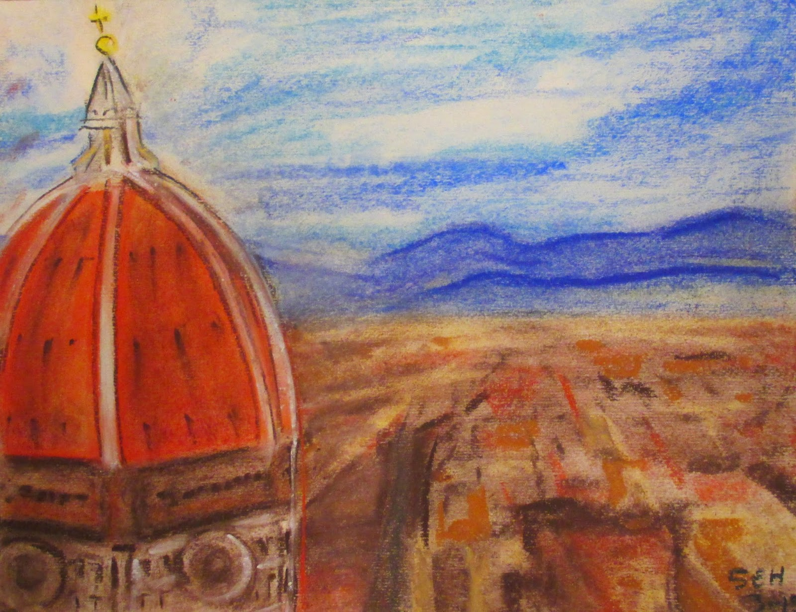 Florence drawing, the dome, Sarah Hipple