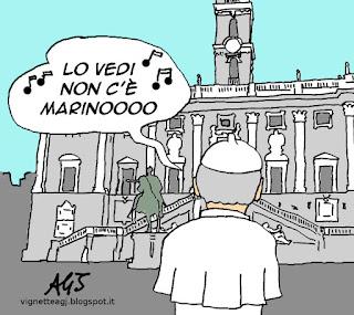 Papa Francesco, Marino, dimissioni, vignetta satira