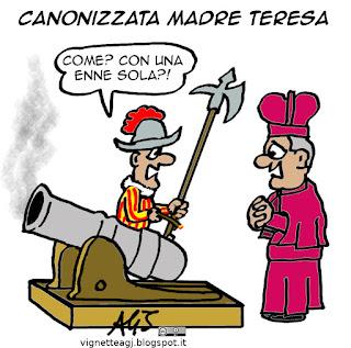 Madre Teresa, canonizzazione, guardie svizzere, vignetta satira umorismo