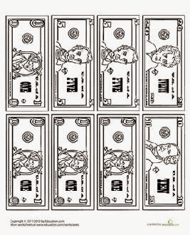 Money Coloring Sheets Free Sheet Blank Dollar Bill
