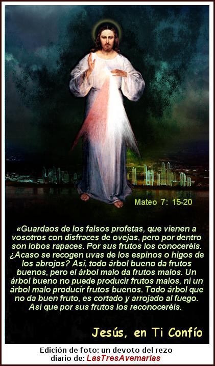 foto de jesus misericordios con el texto biblico de mateo7:15-20