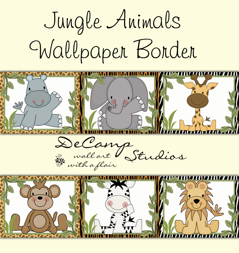 Cute Jungle Animals Wallpaper Border Wall Decals For Baby Boy Nursery Or Children S Room Decor