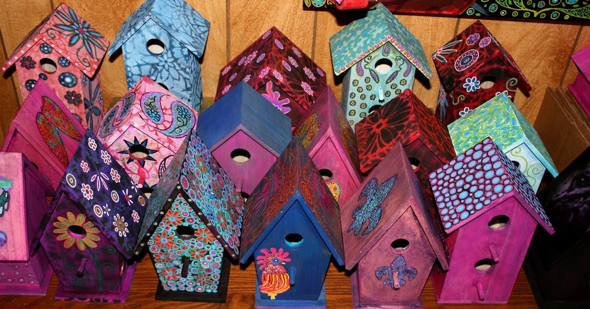 Funky home decor hand painted birdhouses for Funky decorations for the home