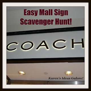 Easy Mall Sign Scavenger Hunt