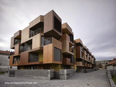 Perspectiva de un edificio de apartamentos contemporáneo