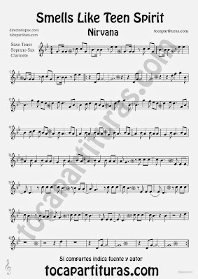 Tubescore Smells Like Teen Spirit by Nirvana Sheet Music for Clarinet Tenor Sax and Soprano Sax