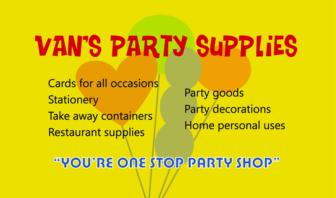 Van S Party Supplies The Business Card Was Designed Based On A Pre Existing Design Front