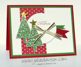 Stampin' Up! Festival of Trees Christmas Card for Pocket Sketch Challenge #stampinup www.juliedavison.com