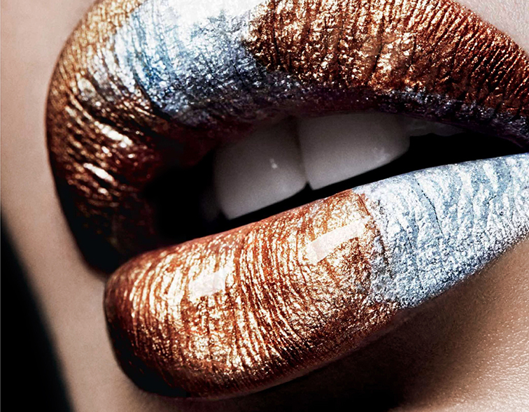 Makeup by Stephanie Arouesty, chrome lips, Harper's Bazaar Mexico May 2014 photographed by TomSchirmacher, Bregjie Heinen's lips