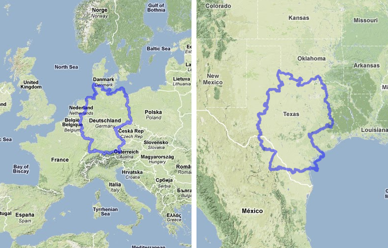 MAPfrappe - Germany us comparison map