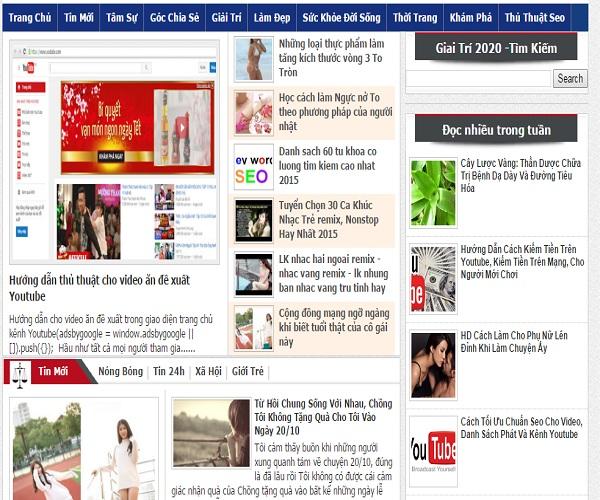 Theme Blogspot dạng tin tức chuẩn seo