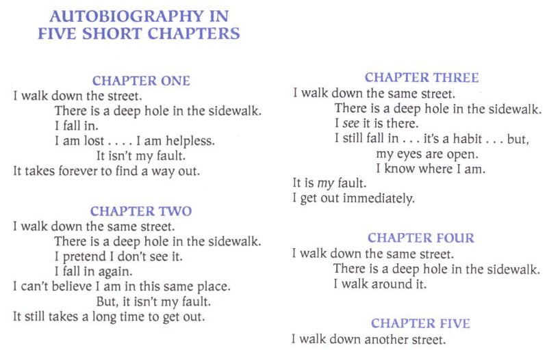 an analysis of portia nelsons poem autobiography in five short chapters Discovering love street – autobiography in 5 short chapters this is one of my favourite poems autobiography in five short chapters by portia nelson.