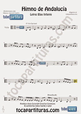 Tubescore Andalussian Anthem Sheet Music for Viola Music Score Himno de Andalucia