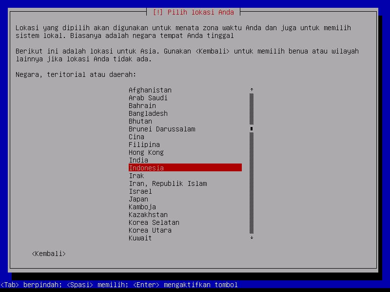 Instalasi Debian: Pilih Indonesia