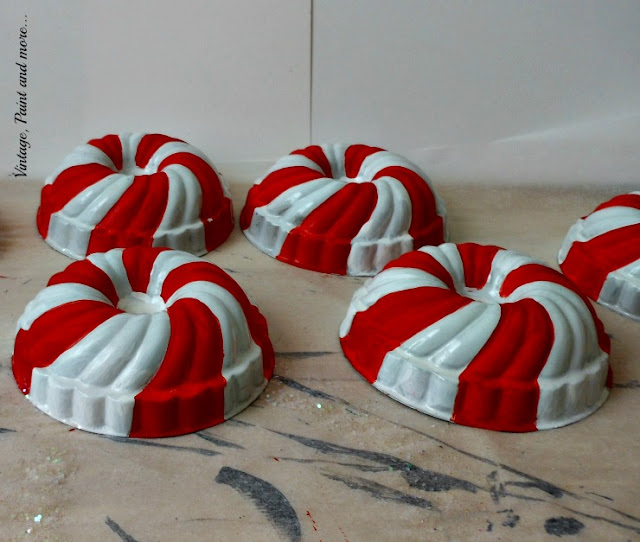Vintage, Paint and more...  Red and white stripe vintage jello mold for a diy Christmas wreath