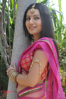 Anusmriti Latest Pictures in Saree at Heroine Movie Opening  0019