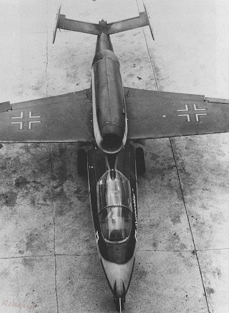 Overhead view of a German Heinkel He-162 Volksjäger jet fighter, 1945.