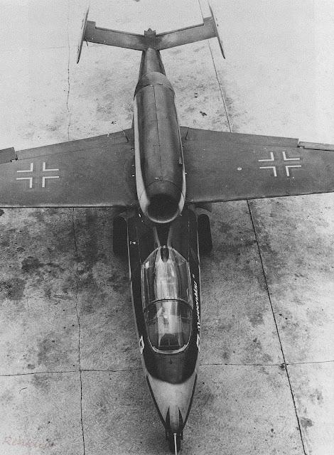 Overhead view of a German Heinkel He-162 Volksjäger jet fighter, 1945.
