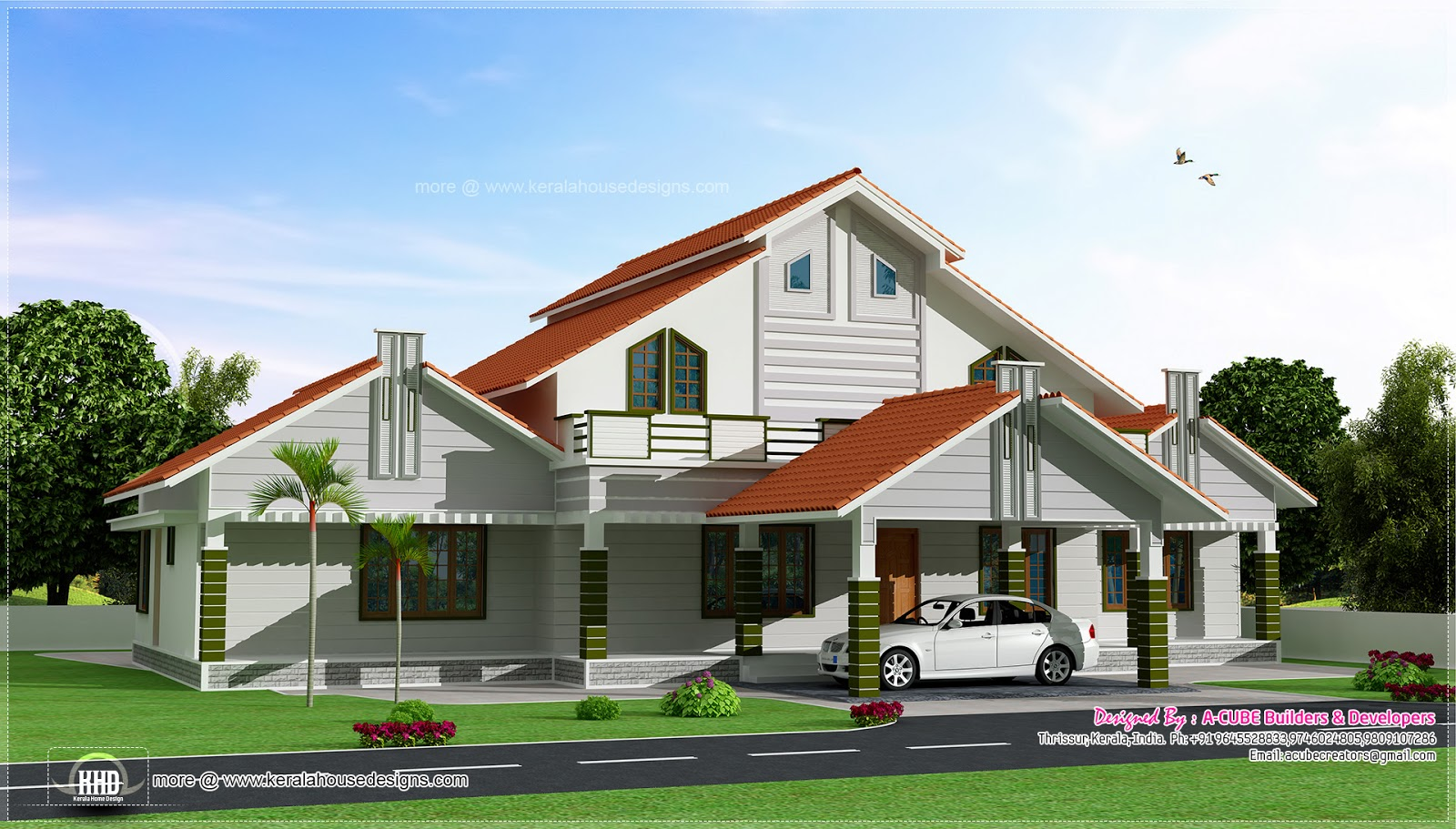 Single floor house looks like a double floor house for Sloped roof house plans in india