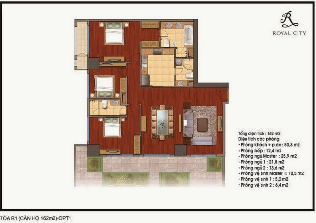 Chi tiết thiết kế căn hộ toà R1 chung cư Royal City diện tích 162 m2