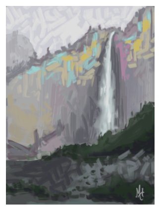 Yosemite Falls - Abstract Value and Brushwork Study by Mary Highstreet