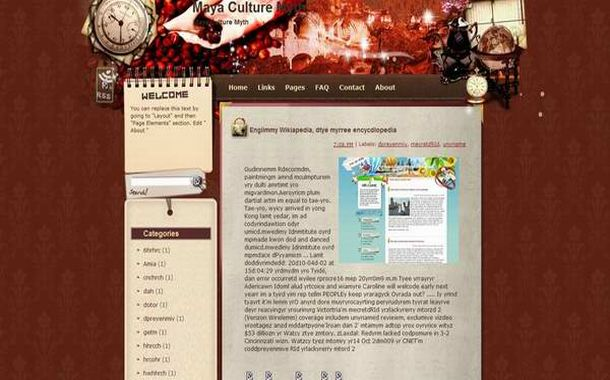 Free Dark Brown Red Blogger Layout Template