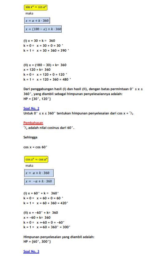 Rumus matematika Persamaan Trigonometri Dan Contoh Soal