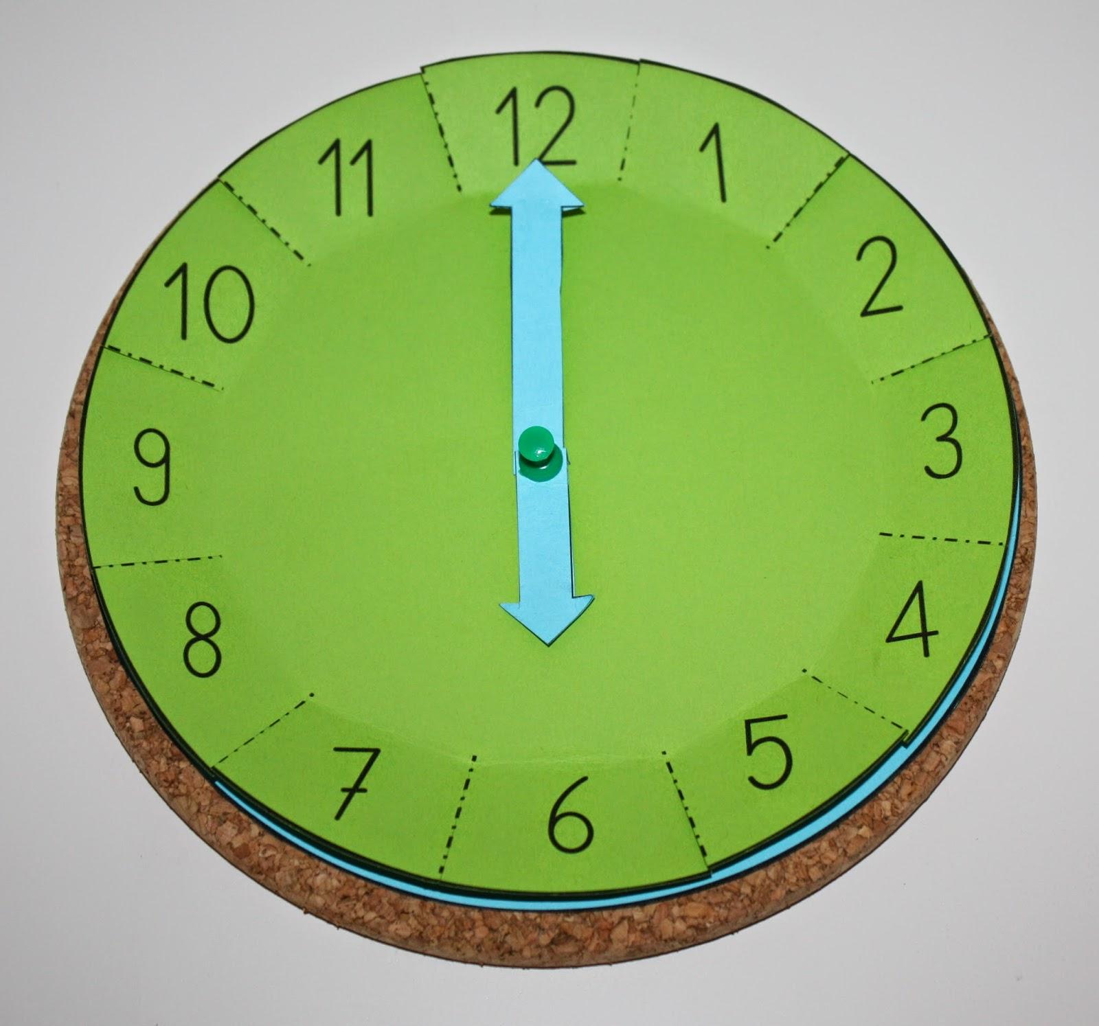 Klassenkunst Bastelvorlage Uhr