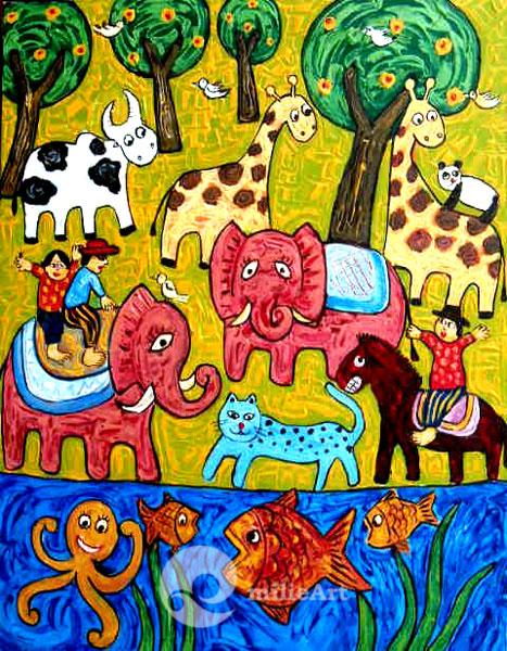 lukisan dekoratif naieve