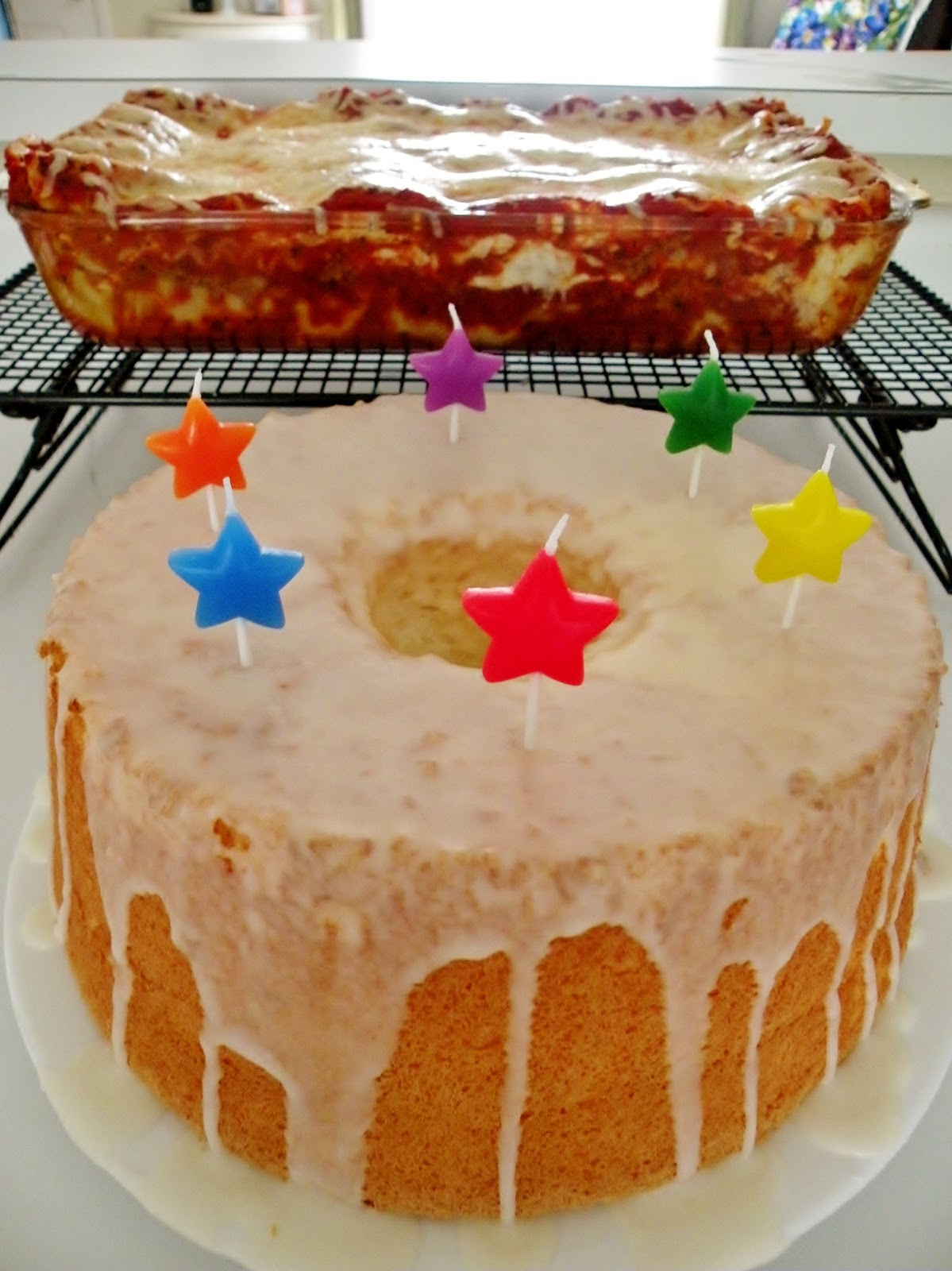 Birthday Lasagna and Angel Food Cake!