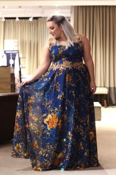 vestido de festa madrinha plus size estampado