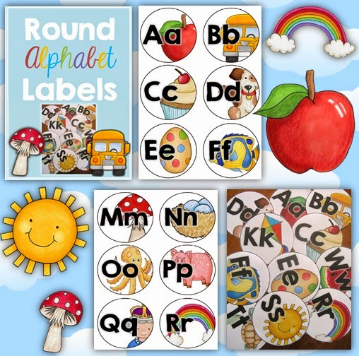 Round Alphabet Labels for classroom labels and for student activities