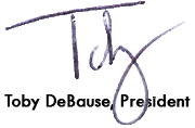 signature of Toby DeBause, President