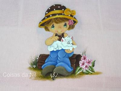 fralda rosa pintada menina com gato dos preciosos momentos