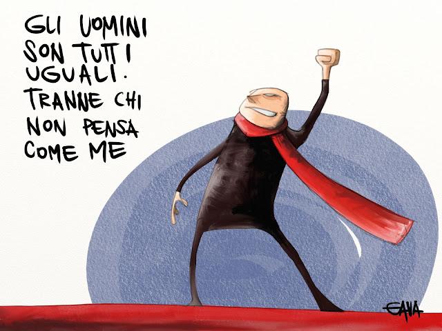 vignetta satira gava gavavenezia caricature ridere guccini trane pensiero rosso comunisti elezioni