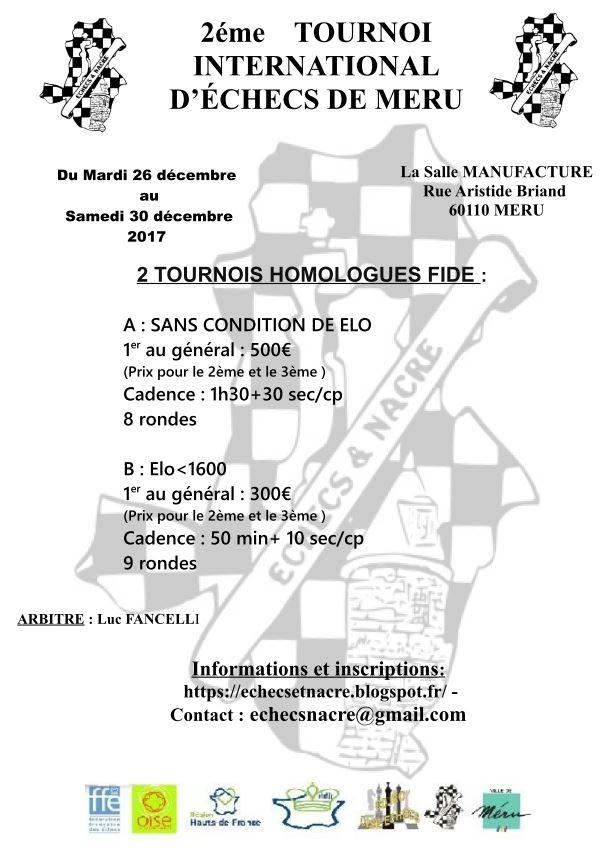 TOURNOIS FIDE DE MERU 2017 – 2ème édition