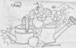 desenho de regador com flores e hortensias para pintar