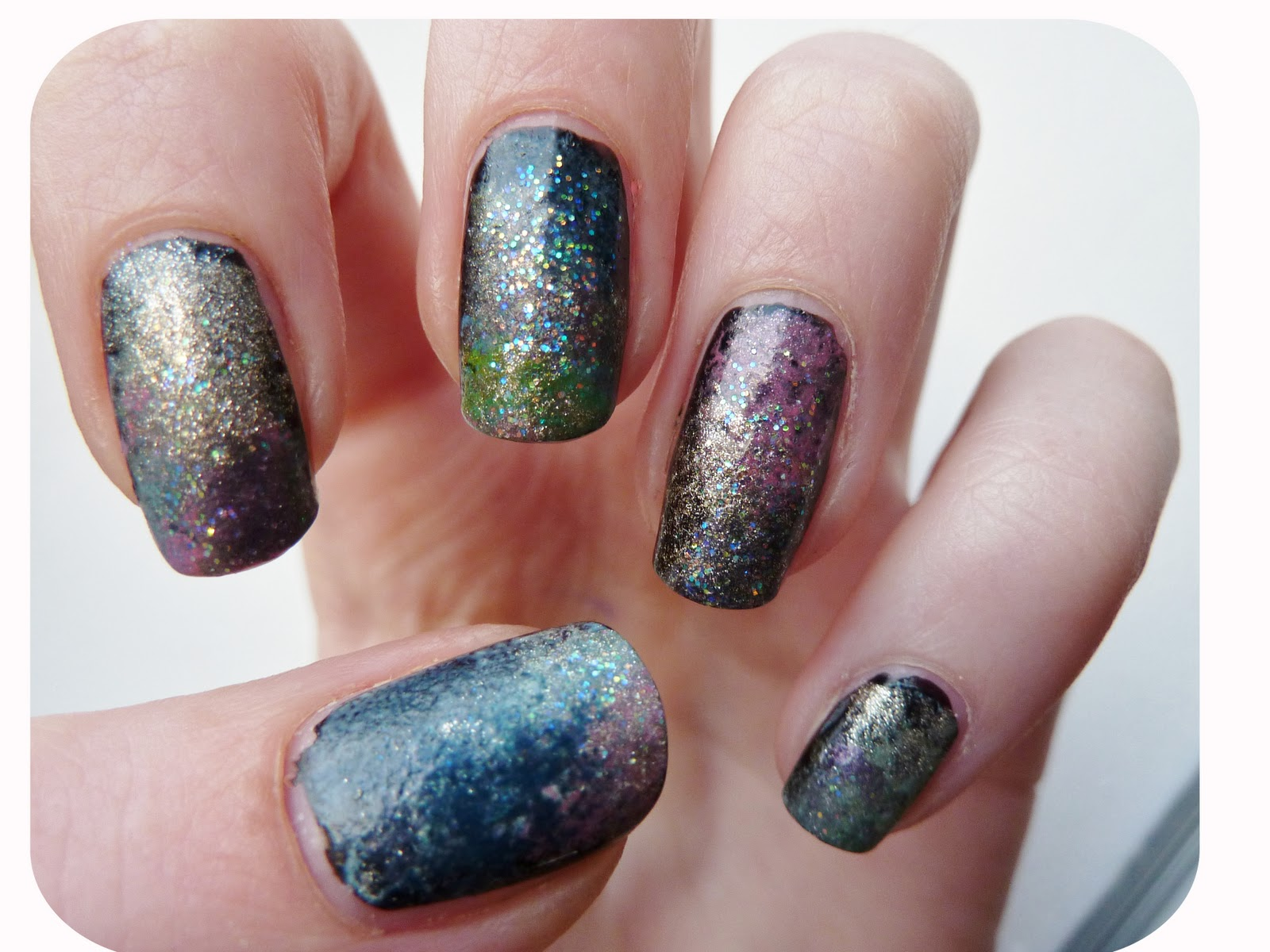 Pearly polish for Outer space nail design
