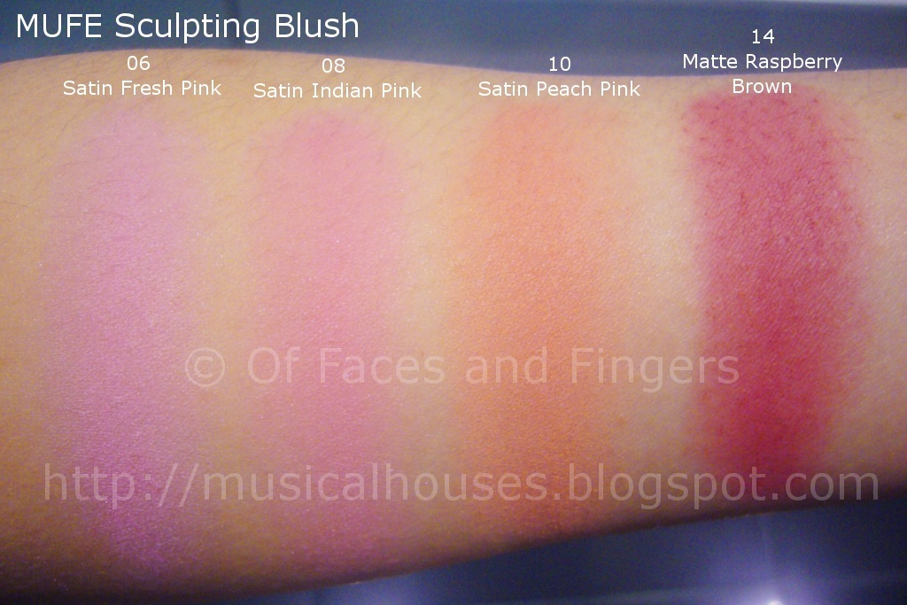 MUFE Sculpting Blush Swatches Part 1 - of Faces and Fingers