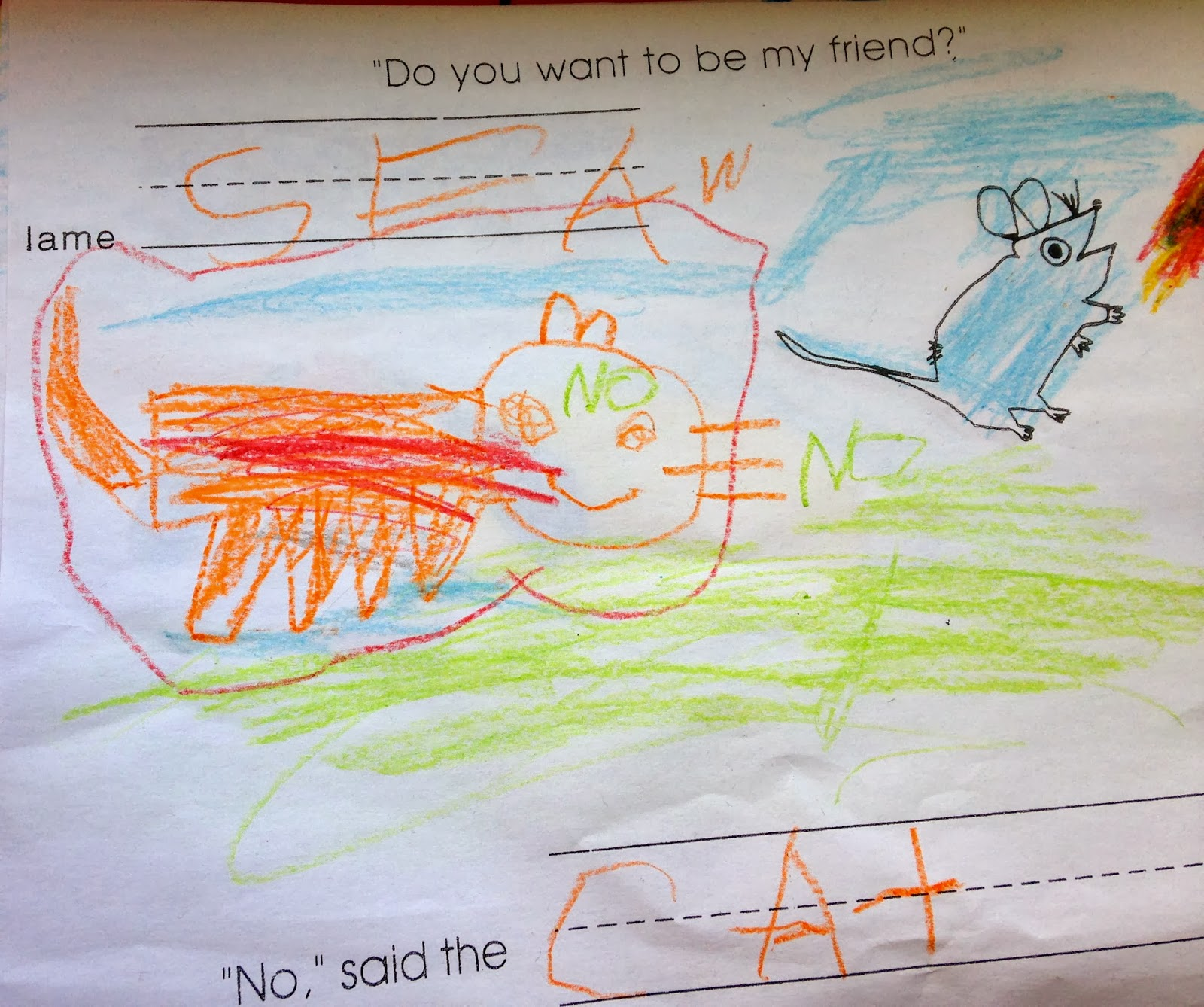 the kindergarten teacher do you want to be my friend he then takes a picture and prints it to make the book really i know the publisher does it but it is my simple version okay